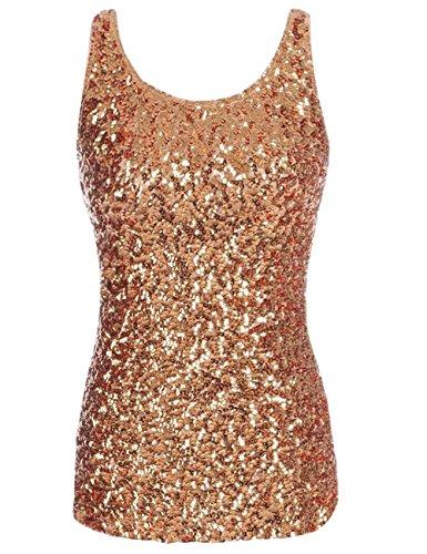 Kayamiya Damen 1920er Jahre Glitter Pailletten Weste Tank Tops S Gold (Gold Kleid Weste)
