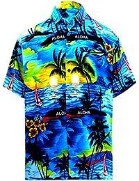 22db997a LA LEELA Men's Hawaiian Beach Camp Party Shirt Button Down Front Pocket  Collar Short Sleeves Aloha