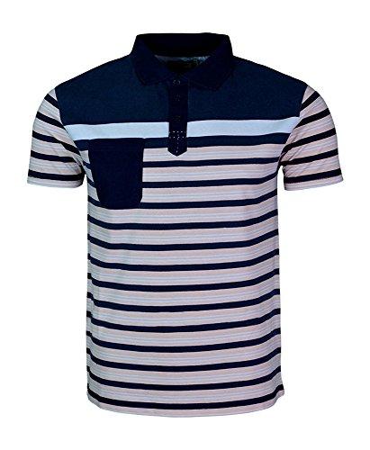 Design Shirts of Polo a righe, da uomo, con maniche corte e tasca sul petto