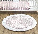 Emma & Noah Baby Krabbeldecke geprüft nach Oeko Tex Standard, rund, 100 cm Durchmesser, Boho, Raute, ideal als Spieldecke, Babydecke (Altrosa)