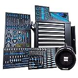 Chrono XL Werkzeugwagen bestückt | 7 Schubladen, 6 gefüllt mit Werkzeug | mit Rollen | Set inkl. Ölauffangwanne
