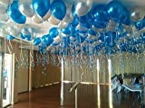 #4: GrandShop 50411 FROZEN Theme Balloon Metallic HD - Blue & Silver (Pack of 50)