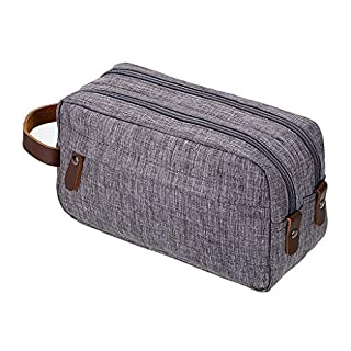 IGNPION Toiletry Bags Travel Gym Organiser Washing Bag Cosmetic Shaving Dopp Kit Bag with Mulit Compartment & PU Carry Handle (Grey)