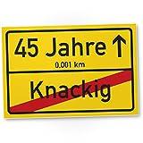 DankeDir! 45 Jahre (Knackig) Kunststoff Schild - Ortssschild, Geschenk 45. Geburtstag Bester Freund/Freundin, Geschenkidee Geburtstagsgeschenk 45ten Geschenk 45er Geburtstagsparty