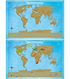 blupalu I 2er Set Rubbel Weltkarte I Weltkarte zum Rubbeln XXL I Gold I mit Flaggen und Rubbel-Chip I World Map Poster I 89 x 59 cm | Deutsch