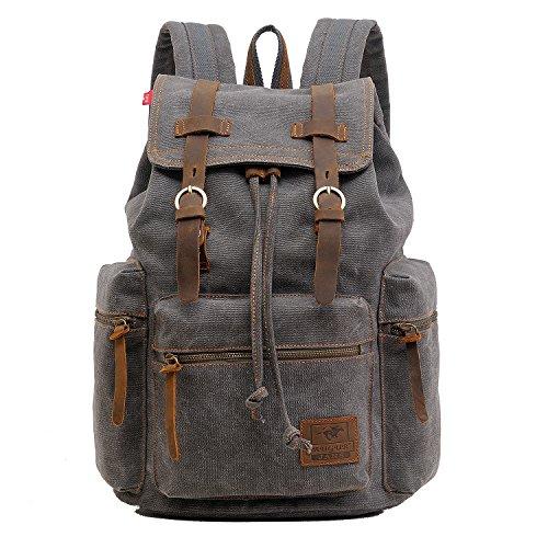 AUGUR Retro Segeltuch Rucksack, Canvas Vintage Rucksack Echtleder Laptop Daypack Schulrucksack (Grau)