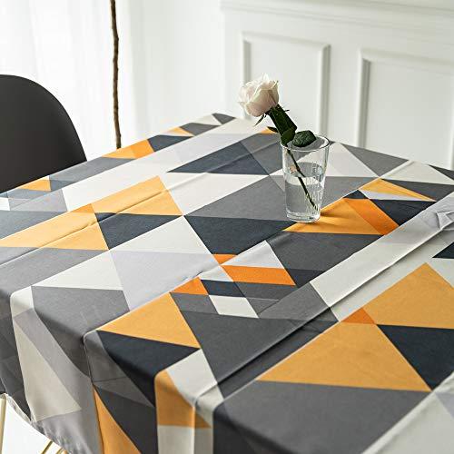Tovaglia Geometria Triangolo Tavolo Panno Cucina Soggiorno Rettangolare Piazza Idrorepellente Cotone Poliestere Per l'orto Domestico Casa Ufficio (55*98in/140*250cm)