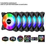upHere 5V RGB LED PC Gehäuselüfter 120mm Leise 5V 6 Pack-Unterstützt ASUS Aura Sync/GIGABYTE RGB Fusion/MSI Mystic Light Sync/AsRock Polychrome Sync-T3SYC3-6