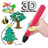 THZY Stampante 3D Penna, 3D Penne Set per Bambini con 1,75 mm PCL filamento 2 Colori, 3D Penna per Adulti, bastler a kritzeleien, Fai da Te, per colorare e 3D Premere (Rosso)
