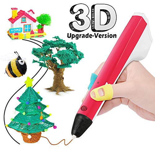 THZY Feathers for 3D Printing, 3D Stereoscopic Smart Pen USB Cable for multi and 2 Filaments packages, Compatible con PLA/PCL, Children / Adults (Red)