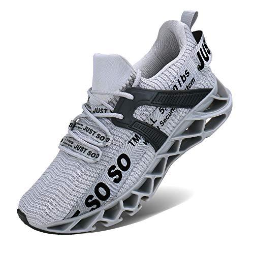 Wonesion Herren Fitness Laufschuhe Atmungsaktiv Rutschfeste Mode Sneaker Sportschuhe, ,, 6-grau, 43 EU