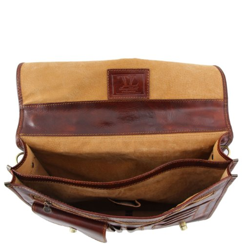 Tuscany Leather Siena - Messenger Tasche aus Leder 2 Fächer Dunkelbraun Lederaktentaschen Dunkelbraun