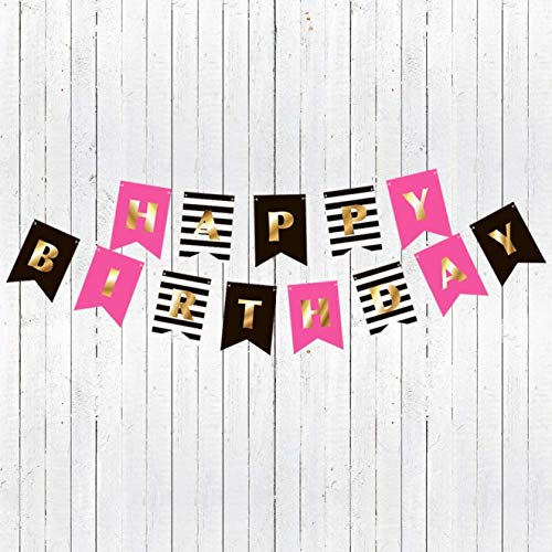 RainMeadow Premium Happy Birthday Banner Bunting Garland | Gold Pink Black White | Party Decorations | Chic Kate Spade Inspired | First 10th 18th 21st 30th 40th 50th 60th etc | for Girls Women