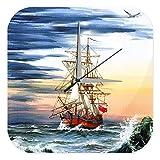 Wanduhr Maritime Deko Segelschiff England alt Acryl Uhr Vintage Retro