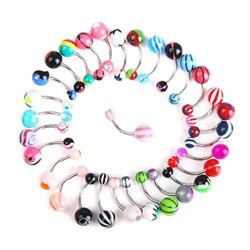 VORCOOL Acryl Bauchnabel Ring baumeln Bar Stud 30pcs (zufällige Farbe)