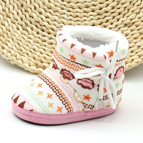 Babyschuhe Longra Baby Stiefel Schuhe weiche Sohle Stiefel Prewalker warme Lauflernschuhe Krippeschuhe (12CM, 1-12 Monate Baby) Pink