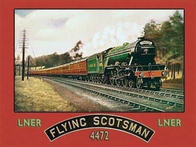 Flying Scotsman Train vintage retro enamel style tin metal sign gift