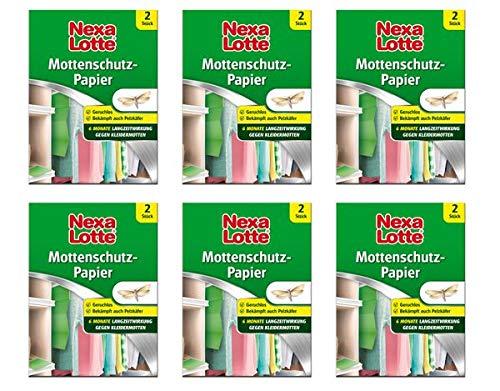 Nexa Lotte® Mottenschutz-Papier 6 Schachteln - Wirkt vorbeugend gegen Mottenlarven und Pelzkäferlarven
