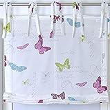 Raffrollo Bindebändern Roma Butterfly Schmetterling weiß bunt 100 x 140