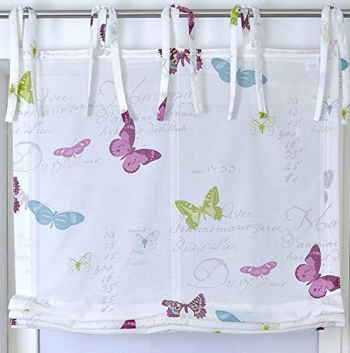 Raffrollo Bindebändern Roma Butterfly Schmetterling weiß bunt 45 x 140