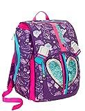 Zaino scuola SEVEN - HEART GIRL - Blu - estensibile - 28 LT - elementari e medie - patch paillettes reversibili - inserti rifrangenti