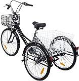 """Yonntech Tricicli Adulti 24"""" 7 velocità Bicicletta 3 Ruote Adulti Bici da Uomo, Donna con Cestino di acquisto"""