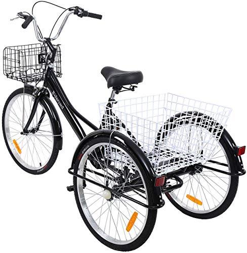 Yonntech 24' Tricycle Adulte 7 Vitesses Gears vélo Femme/vélo Homme vélo de Ville vélo Hollandais Panier Inclus (Noir)