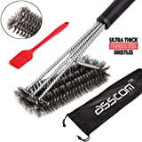 "BBQ Grill Brush By AsscomTM - 18"" - 3 Stainless Steel Brushes in 1 and a small 100% small silicone brush - Best Barbecue Cleaner Tools Accessories - Outdoor Kitchen Wire Bristles Cleaning Grates Parts Set to Handle Weber Charcoal, Charbroil, Gas, Electric, Porcelain, Infrared Grills"