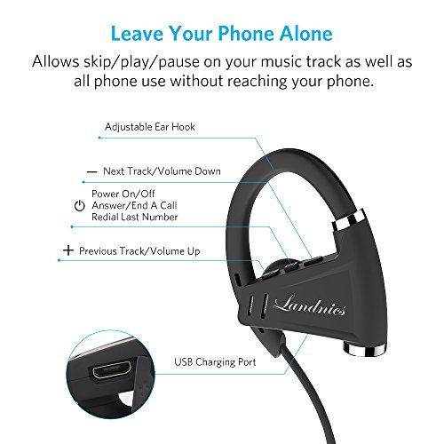 Auricolari Wireless Bluetooth Cuffie Landnics Cuffie In-Ear Stereo Sportive  Impermeabile IPX7 Tempo di Riproduzione 12 ore per Bici ed esercizi Palestra f8f2a2898d60