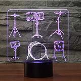 3D Luci Notturne Touch Button 3D Led Night Light Drum Rack Modellismo Lampada Da Tavolo Usb Strumenti Musicali Camera Da Letto Per Bambini Illuminazione Da Scrivania Decorazione Domestica