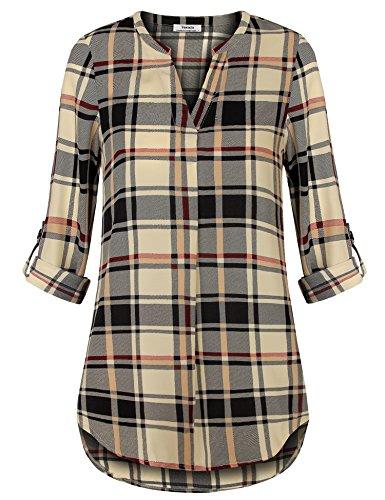Youtalia Damen Freizeit Lange Ärmel V-Ausschnitt Chiffon Bluse Elegante Frauen Tunika Oberteile (X-Large, Schwarz Beige)