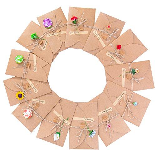Grußkarte - Meersee 13 Stück Grußkarten Set Blanko Handgemachtes Retro Kraftpapier danken Ihnen Karten mit 13 Getrockneten Blumen, Aufkleber und Jute Twine