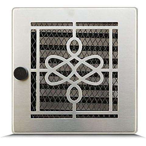17 x 17cm Rejilla de lamas Aire rejilla ventilación Chimenea regulable - Acero inoxidable - ACEROS RECTIFICADOS Seren elegant