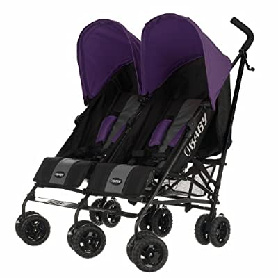 Obaby Apollo Black & Grey Twin Stroller (Purple)  Meen