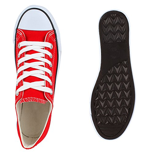Herren Sneakers Low Basic Turnschuhe Bequeme Freizeit Schuhe Rot