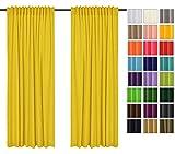 Rollmayer 2er Pack Vorhänge mit Tunnelband Kollektion Vivid (Gelb 5, 135x215 cm - BxH) Blickdicht Uni einfarbig Gardinen Schal für Schlafzimmer Kinderzimmer Wohnzimmer 2 Stück