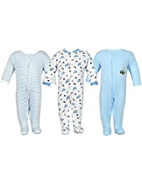 NammaBaby New Born Baby Cotton Romper, 0-3 Months (Multicolour, NB-ROMPER-BLUE-3-6-MB -M) - Pack of 3