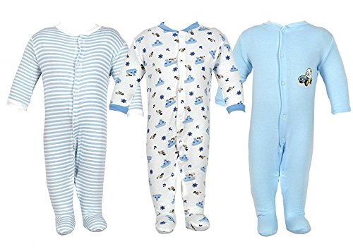 NammaBaby New Born Baby Romper Body Suite Pack Of 3 (NB-ROMPER-BLUE-3-6-MB -M_Multicolour_0-3 months)