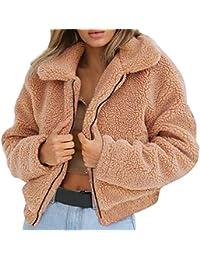 Keepwin Womens Warme Künstliche Wolle Mantel Reißverschluss, Solid Winter  Parka Oberbekleidung Jacke d3e3e3bac8