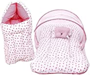 Fareto Baby Gift Pack Set Mattress with Net & Sleeping Bag(0-6 Months)(Pin