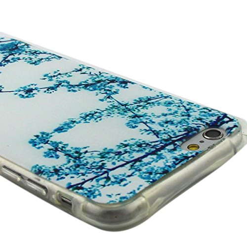 Custodia iPhone 6 Plus, iPhone 6S Plus Cover Glitter, SainCat Cover per iPhone 6/6S Plus Custodia Silicone Morbido, Custodia Bling Glitter 3D Design Transparent Silicone Case Ultra Slim Sottile Morbid Albicocca Fiore