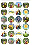 24 Precut Teletubbies Themed Edible Wafer Paper Cake Toppers