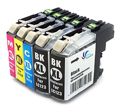5 Cartouches d'encre avec puce dernière génération compatible avec brother lC121 lC123 lC125 pour brother dCP-j552DW mFC-j470DW mFC-j650DW//// dCP j132W mFC-j870DW-dCP-j152W dCP-j172W/////dCP-j752DW dCP-j4110DW mFC-j245/mFC-j4410DW/mFC-j4510DW mFC-j4610DW mFC-j4710DW/////mFC-j6920DW mFC-j6720DW mFC-j6520DW