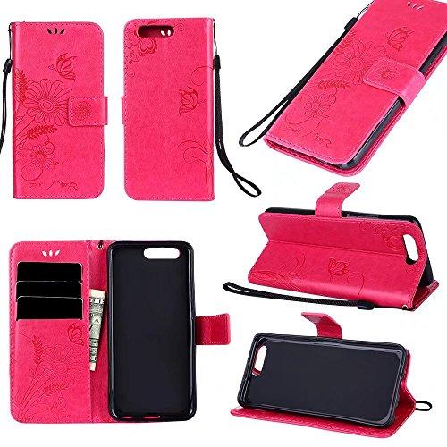Premium PU-Leder Folio Stand Case, Solid Farbe geprägt Blumen Stil schützende Geldbörse Tasche Tasche mit Lanyard & Card Slots für Huawei P10 ( Color : Modena ) Red