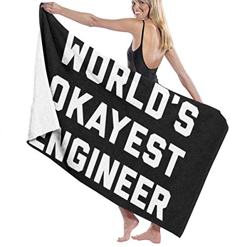 Haloxa Worlds Okayest Engineer Funny Quote Beach Towel Travel Towels for Sports,Travel,Yoga,Swimming,Gym Quick Dry Bath Towel 80x130 cm