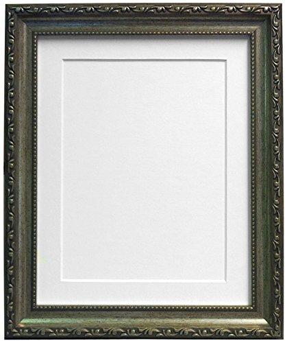 Frames By Post Silber AP-3025Bilderrahmen mit schwarz, weiß, elfenbein, rosa oder hellblau grau Passepartout, plastik, White Mount, 30
