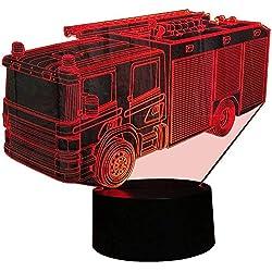 Illusion 3D Pompiers LED Lampes Art Déco Lampe lumières LED Décoration Maison Enfants Meilleur cadeau Lumière Touch Control 7 couleurs Change【7 à 15 jours d'arriver en France】