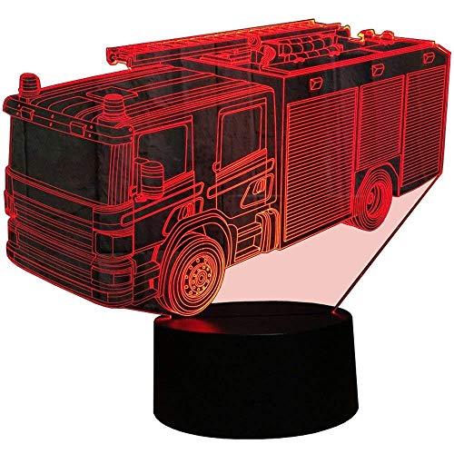 HPBN8 3D Feuerwehr Auto Lampe USB Power 7 Farben Amazing Optical Illusion 3D wachsen LED Lampe Formen Kinder Schlafzimmer Nacht Licht【7 bis 15 Tage in Deutschland angekommen】