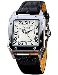 Gute Quadratischer Herren Automatische mechanische Armbanduhr mit weißem Zifferblatt Analog-Anzeige und schwarz Lederband
