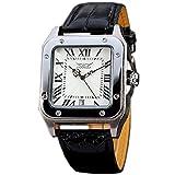 Gute Quadratischer Herren Automatische mechanische Armbanduhr mit weißem Zifferblatt Analog-Anzeige und Kunstleder Riemen